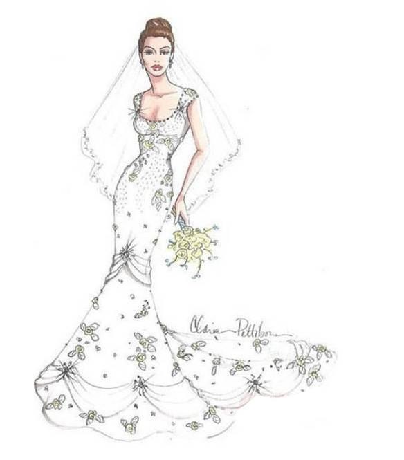 婚纱效果图稿-婚纱礼服设计-服装设计