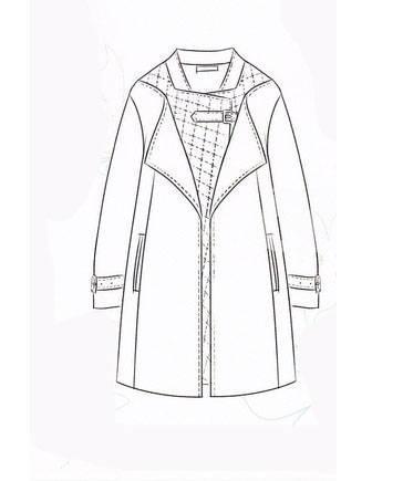 棉大衣手绘款式图-女装设计-服装设计