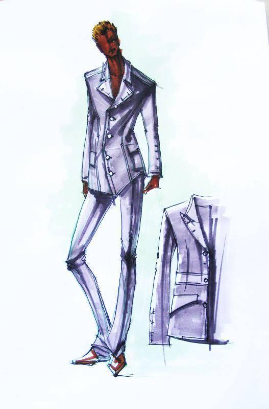 马克笔手稿-男装设计-服装设计