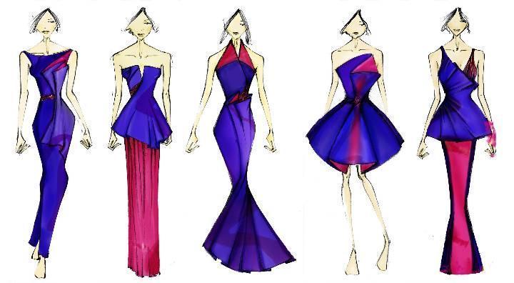 礼服设计图稿作品-礼服设计图稿款式图