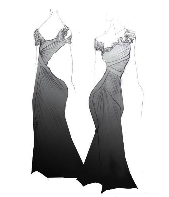 晚禮服手稿-婚紗禮服設計-服裝設計