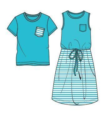 亲子装款式图-童装设计-服装设计