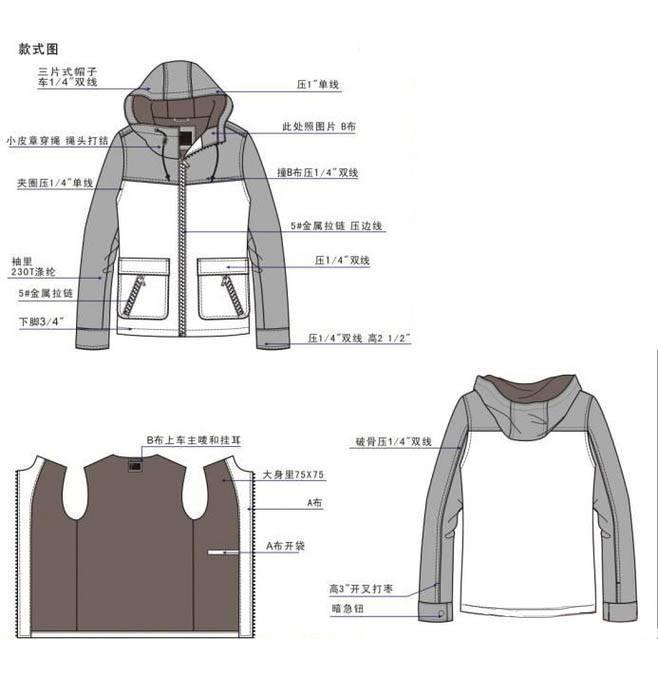 外套款式图工艺-男装设计-服装设计
