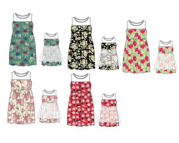 亲子连衣裙款式图-童装设计-服装设计