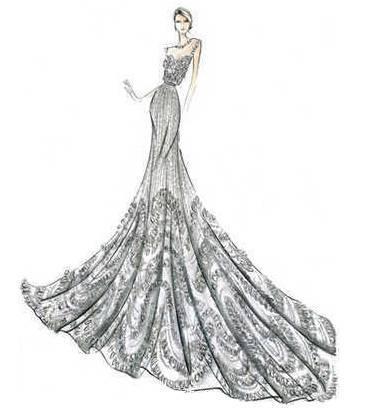 晚礼服设计稿作品-晚礼服设计稿款式图图片