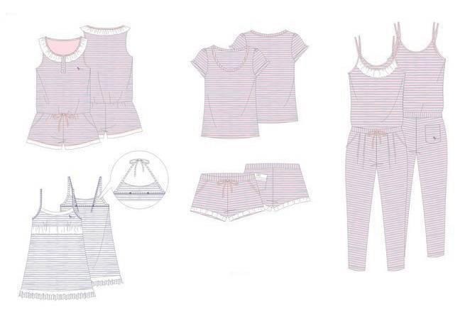家居服款式图-内衣/家居设计-服装设计图片