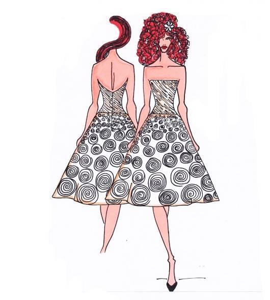 小礼服手稿-婚纱礼服设计-服装设计
