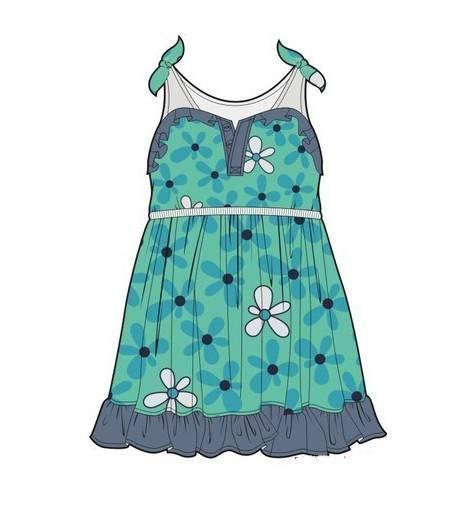 连衣裙子款式图-童装设计-服装设计