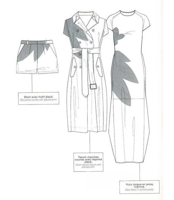 (连衣裙,风衣,短裤)款式图-女装设计-服装设计