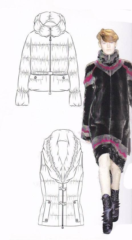 羽绒服款式图-女装设计-服装设计