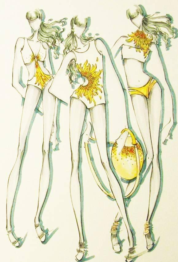 菊-泳裝設計手稿