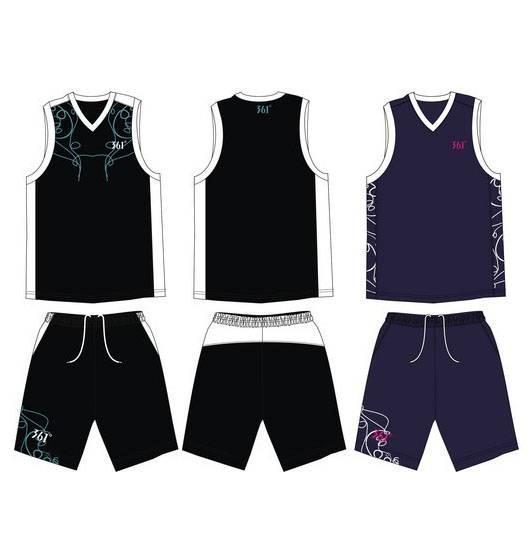 篮球服款式图-职业服装设计-服装设计