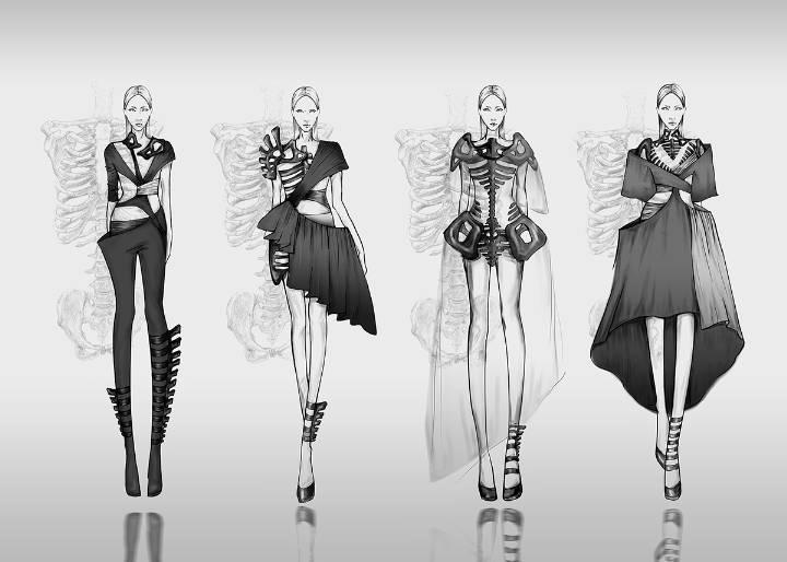 骨骼-女装设计-服装设计