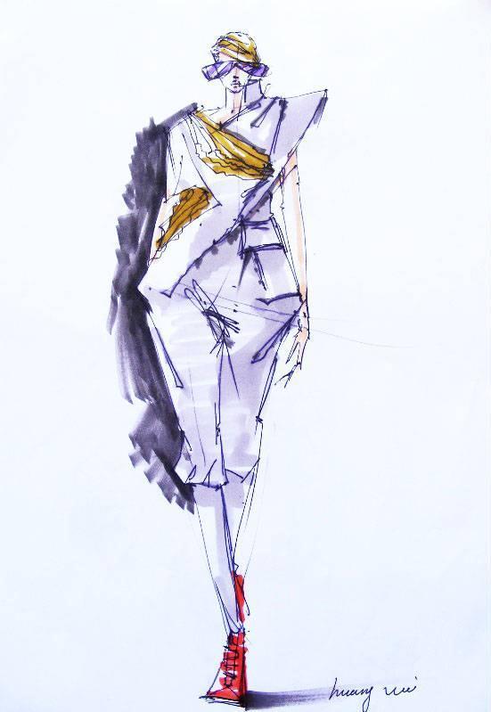 马克笔手稿-女装设计-服装设计