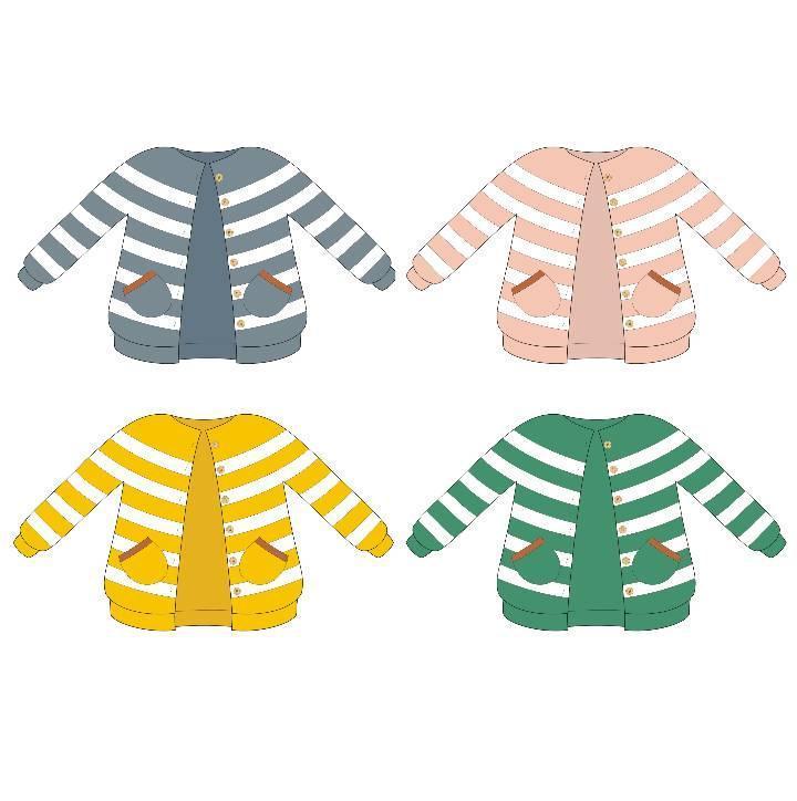 儿童针织开衫款式图