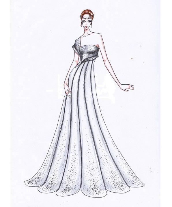 婚纱手稿-婚纱礼服设计-服装设计图片