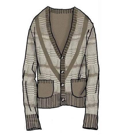 开衫款式图-毛衫针织设计-服装设计