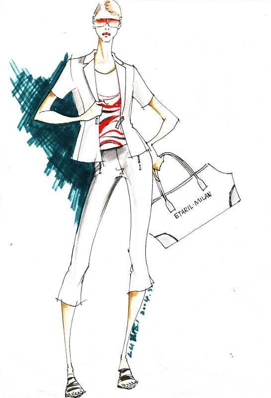ol女套装手绘效果图-女装设计-服装设计