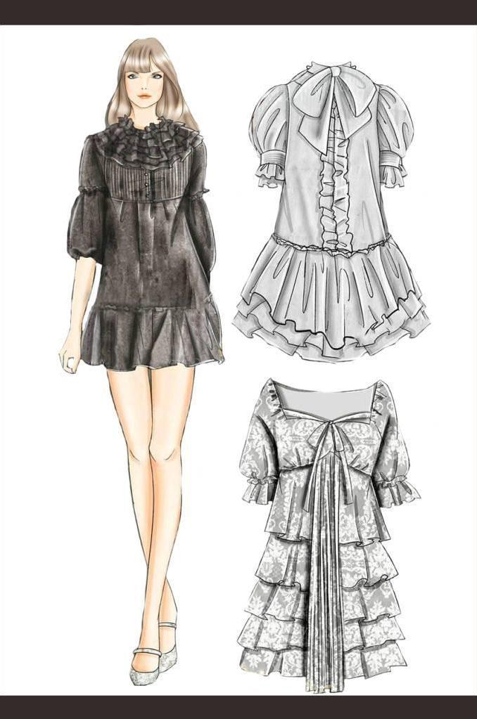 连衣裙子效果图-女装设计-服装设计
