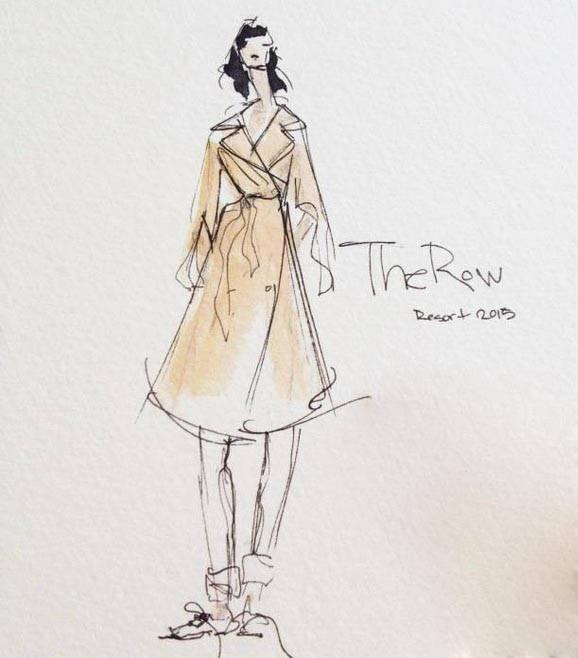 手绘风衣-女装设计-服装设计