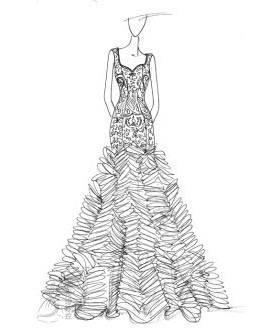 礼服手绘效果图作品-礼服手绘效果图款式图