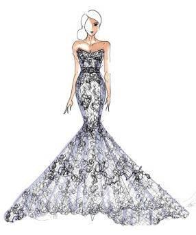 礼服手绘效果图-婚纱礼服设计-服装设计