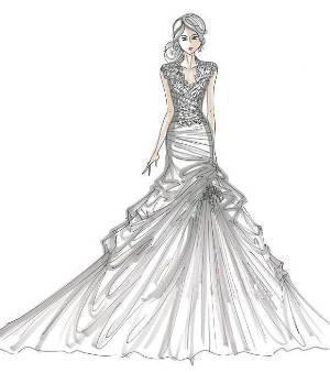 服装设计系列款式图礼服三人 婚纱服装设计图图片