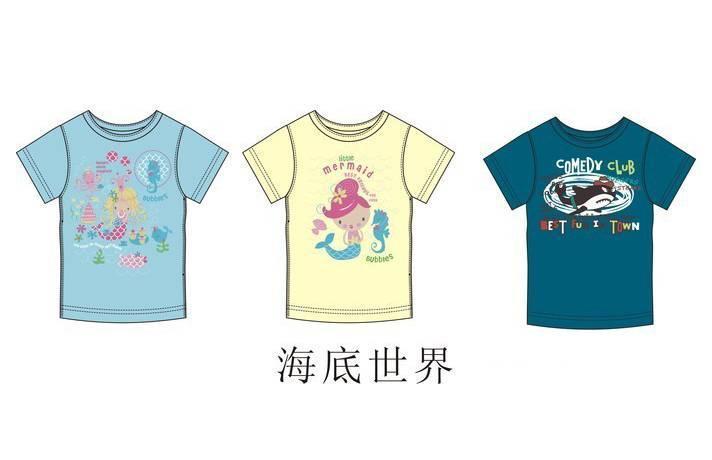 童装t恤款式图