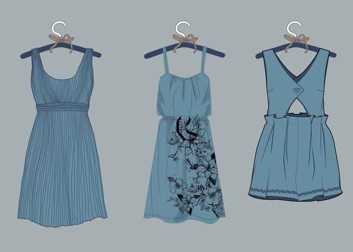 连衣裙子款式-女装设计-服装设计