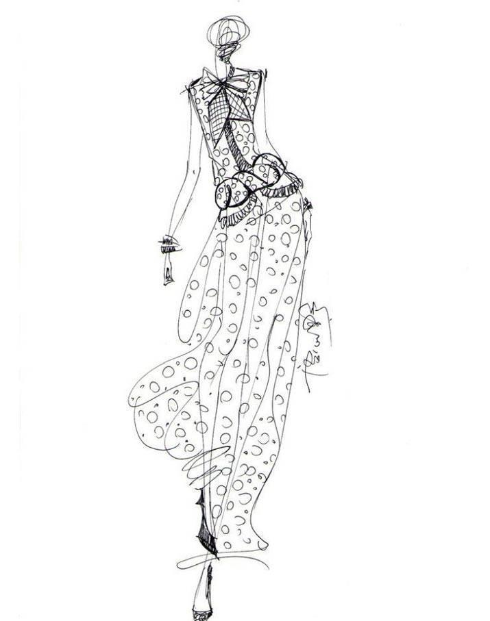 手绘线稿收集-女装设计-服装设计