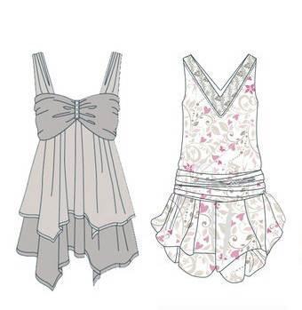连衣裙子款式图-女装设计-服装设计