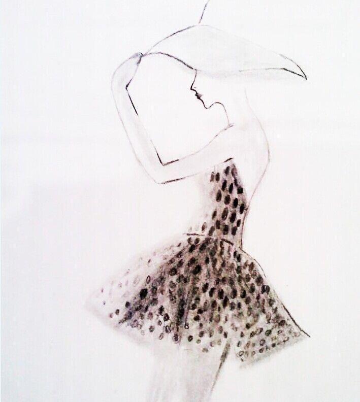 人物时装素描临摹-女装设计-服装设计