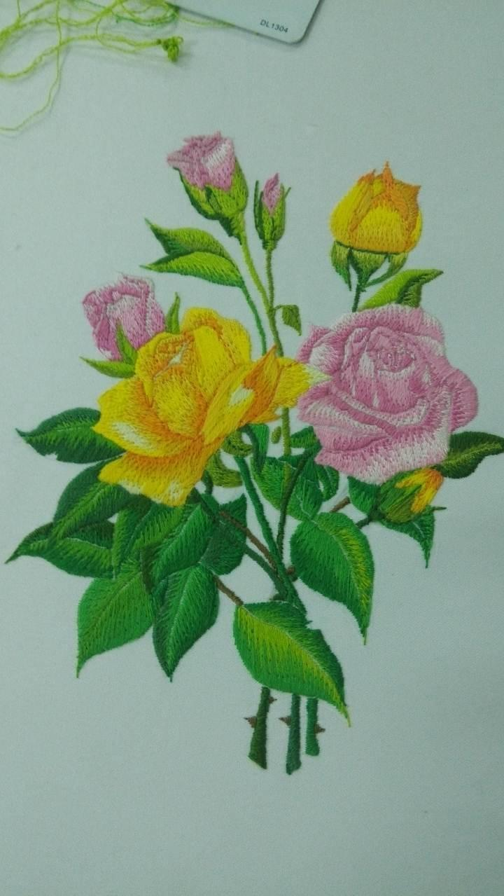 玫瑰绣花图案图片