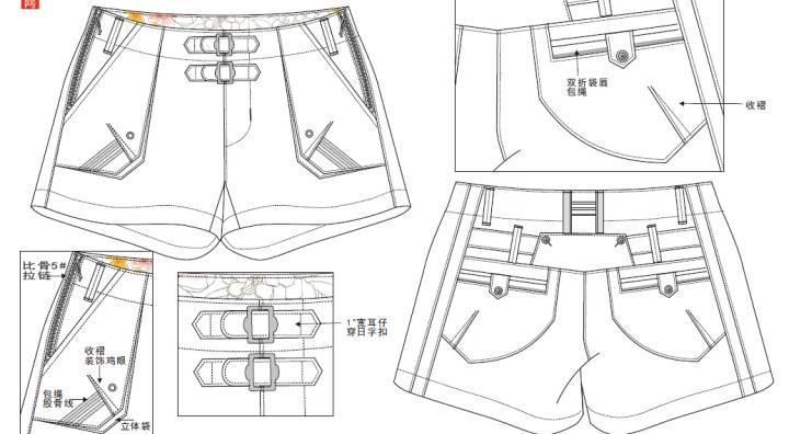 女装休闲短裤款式图工艺-女装设计-服装设计