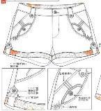 女装休闲短裤款式图工艺