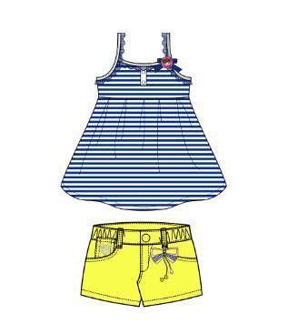 吊带+短裤款式图-童装设计-服装设计