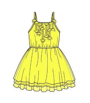 吊带裙子款式图-童装设计-服装设计