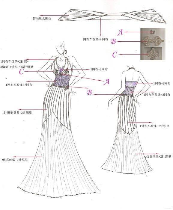 礼服手绘稿作品-礼服手绘稿款式图
