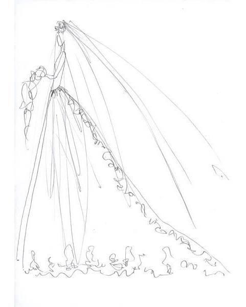 手绘学习 铅笔画 婚纱