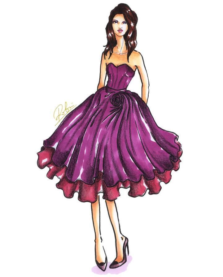 小礼服手绘稿作品-小礼服手绘稿款式图