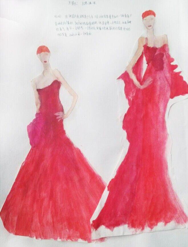 时装画效果图-时装画手绘图-cfw服装设计
