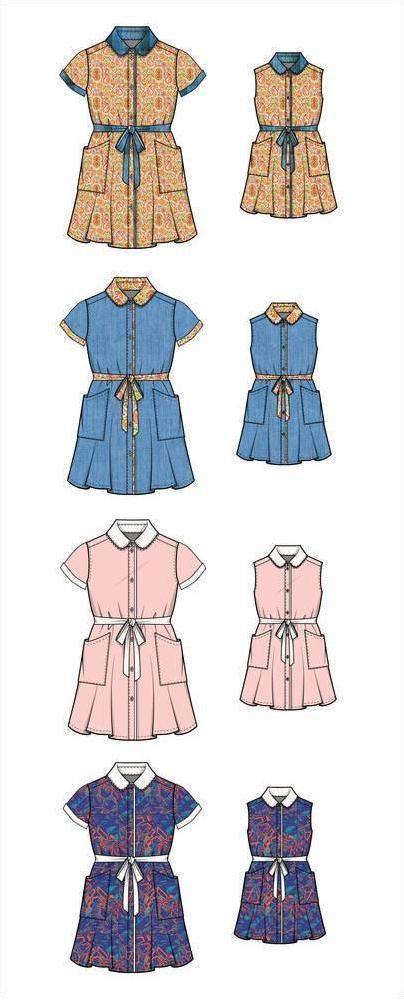 连衣裙亲子装款式图-童装设计-服装设计