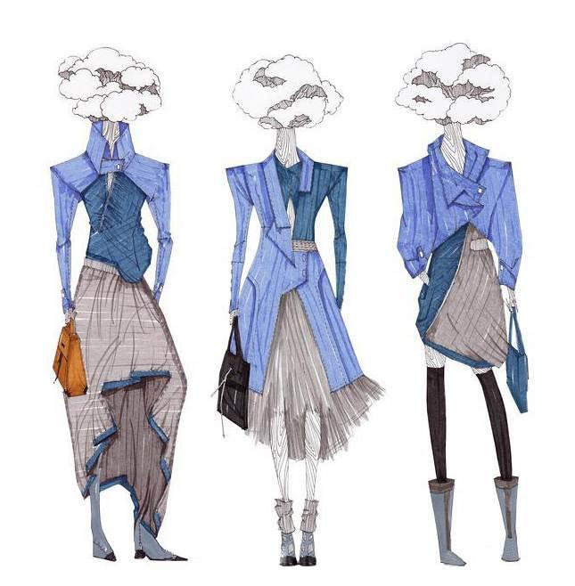 张君雅马克笔手稿-女装设计-服装设计