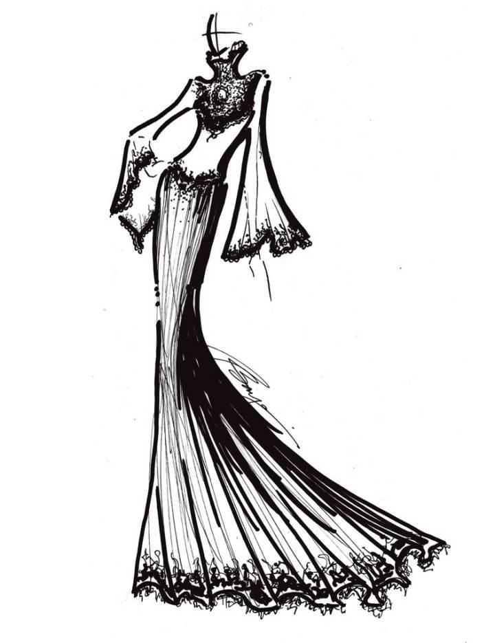 婚纱礼服手绘线稿-婚纱礼服设计-服装设计