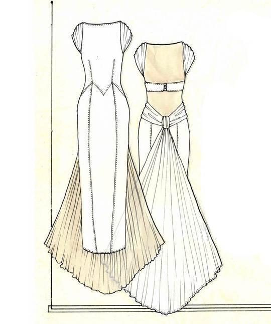 晚礼服款式图-婚纱礼服设计-服装设计
