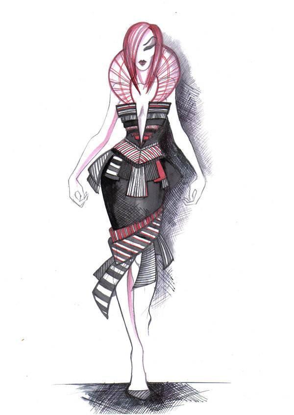 创意小礼服手绘作品-创意小礼服手绘款式图