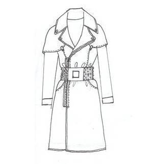 手绘大衣风衣款式图-女装设计-服装设计