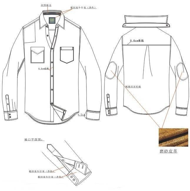衬衫款式图工艺-男装设计-服装设计
