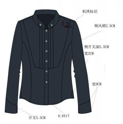 长袖衬衫款式图工艺-女装设计-服装设计