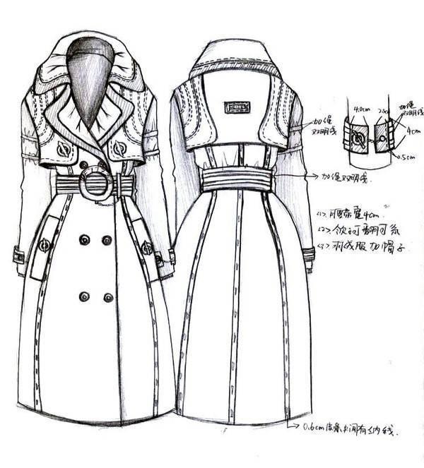 大衣风衣款式工艺手稿-女装设计-服装设计